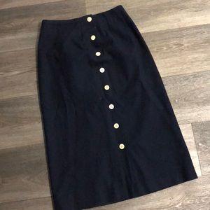 Navy Blue Button Skirt